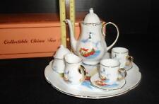 Lighthouse Collectible Miniature China 8 pc Tea Set Child's Teapot Cup Saucer +