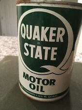 Vintage Full QUAKER STATE Red Top  Metal Motor Oil Can Unopened , SAE 20