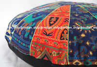 Indian Mandala Floor Pillows Round Meditation Cotton Cushion Cover Ottoman Pouf-