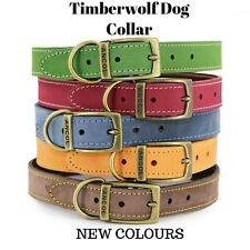 More details for new ancol timberwolf leather dog collar (new colours) with engraved id tag