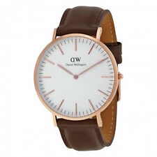Daniel Wellington Classic Bristol 40mm RoseGold Brown Leather Men's Watch 0109DW