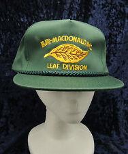 Vintage RJR Macdonald  Leaf Division Green 6 Panel Trucker Snap Back Hat Cap