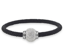 Black Tone Stainless Steel Bracelet with Crystal Ball