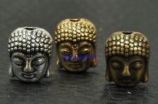 10Pcs Silver Gold Bronze Metal Buddha Head Bracelets Charms Beads 11X9MM C3504
