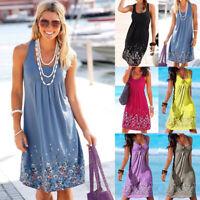 UK Womens Boho Sleeveless Beach Midi Party Dress Ladies Holiday Floral Sundress