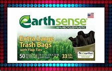 EarthSense 33 Gallon Recycled Trash Bag 50 Count New!