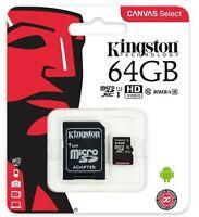 SCHEDA MICRO SD CON ADATTATORE SD KINGSTON 64 GB SDCS/64GB CL10 nuova.