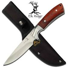 "Elk Ridge 9"" Hunter Knife Brown Pakkawood Handle Etched Bolster + Sheath 148"