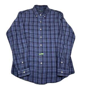 Ralph Lauren Custom Fit Mens Large Button Down Long Sleeve Blue Plaid Silk Blend