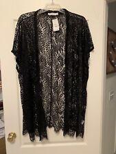 Hanger 221 Black Lace Long Kimono Black