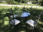Beautiful Wrought Iron Patio Furniture Set Table & 4 Chairs Glass Top