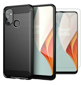 For OnePlus Nord N100 Case Carbon Fibre Cover & Glass Screen Protector