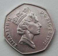 British, 1997 Lion Backed 50p Coin. Fifty Pence. Small current issue size (W12)