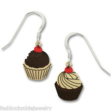 Cupcake Earrings - 925 Sterling Silver and Metal - Cupcake Dangle Earrings *NEW*