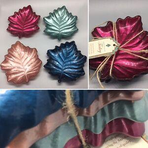 "x4 Turkish Glass Leaf Dessert Plate Set Raspberry Red Blue Green Taupe Fall 6"""