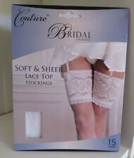 1dea3c27e2b Couture Soft   Sheer Bridal Lace Top Hold UPS Stockings 15 Denier Silicone  Band L White