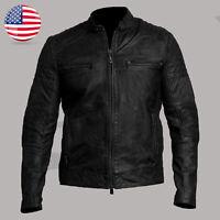 Cafe Racer Motorcycle Vintage Black Biker Wear Style Real Leather Jacket Men