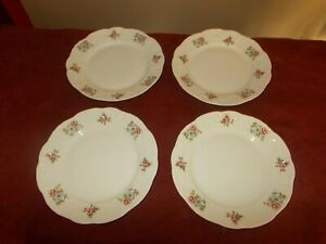 """( 4 ) Princess House Rose Garden Salad Plates 8"""" White with Red Blue Roses"""