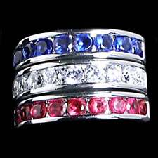 3 Ring Set_Red_White_Blue Cz Wedding Band_Sz-10_925 Sterling Silver