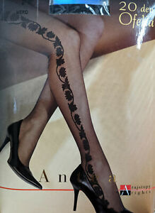 Tights 20 Denier- Beautiful floral/ leaves pattern on the side- Ofelia by Adrian