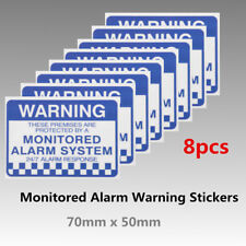 8x Alarm System Monitored Warning Security Sign 70x50mm Stickers PVC Waterproof
