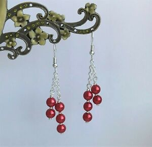 Pretty Red Glass Pearl Dangly Chain Silver Plated Drop Earrings