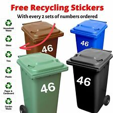 """4 X White Wheelie Bin Stickers House Number - 7"""" High FREE RECYLING STICKERS !!!"""