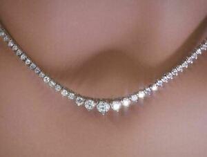 Tennis Necklace 16 Inch 14K White Gold Over VVS/VS Solitaire White Round Diamond