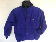 Vintage Patagonia Kids 8 Puffer Jacket Fleece Lined Coat Blue Full Zip & Snap