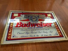 "Budweiser King of Beers 1995 Bar Mirror 25"" x 18"" Beer Advertisement Gold Frame"