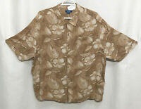 Mens Puritan 3XL Brown Floral Short Sleeve Button Front Rayon Shirt