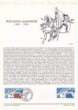 Document philatélique 27-78 1er jour 1978 Stade de Roland Garros
