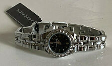 NEW! ANNE KLEIN SWAROVSKI CRYSTALS BLACK DIAL SILVER BRACELET WATCH $85 SALE