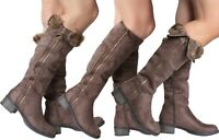 Womans Brown Faux Suede Fur Gold Zips Collar Riding Cuff Knee High Calf Boots