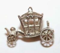 Moving English Royal Carriage Sterling Silver 925 Vintage Bracelet Charm 2.7g