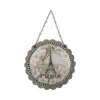 Paris Dome Scene Silvertone 5 inch Glass and Rhinestone Christmas Ornament