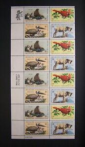 Scott #1464-1467, US Postage strip of 16, 8 cent, Plate/ Zip Block, Wildlife Con