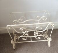 Vintage, Shabby Chic, retro 1960's Metal Wrought Iron Magazine Rack, White