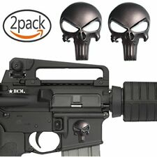 """2 Pack Magwell Metal Decal Sticker Punisher Skull 1 Inch By 1.38"""" Matte Black"""