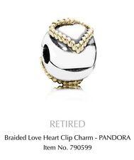 BID Genuine Pandora Charm Silver & 14K Gold Braided Heart Fixed Clip 790599 $199