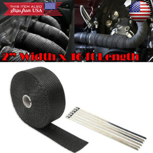 "Black 2"" 15ft Exhaust Header Downpipe Pipe Heat Wrap w/ 6 Ties For Honda Acura"
