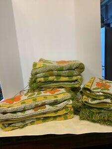 VTG Cannon Royal Family Floral Green Towel Set Washcloth, Hand Towel, Bath Towel