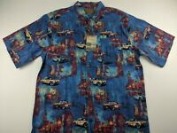 NEW GM Clearwater Outfitter XL Blue Multi Shirt Luxury Retro Cars Short Sleeve