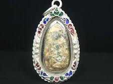 Phra Rod Lamphun Kru Wat Mahawan ,Phim 2 Face ,Thai Buddha Amulet ,silver Case