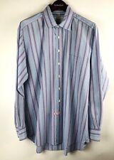 Boden London Men's 17 Button Front Dress Shirt Blue Purple Striped Long Sleeve