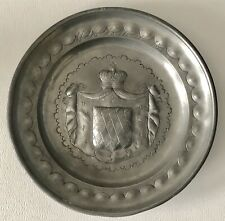 Antique German Pewter Plate European Heraldic Royalty Crown Coat Of Arms Shield