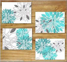 Teal Turquoise Gray Wall Art Prints Decor Floral Flower Dahlia Kitchen Bathroom+