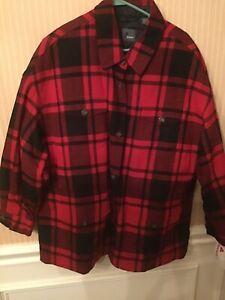LizWear Red Buffalo Plaid Wool Trucker Jacket Casual Shirt Workwear Size 14 New