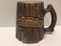 Vintage Rare Treasure Craft Los Angeles California Tree Trunk Mug Cup Glass Wood