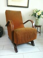 Rare Bentwood Banana Armchair Rocking Chair 1930's Halabala Art Deco style